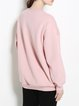 Pink Long Sleeve Crew Neck Cotton Sweatshirt
