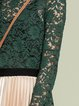 Green Turtleneck Casual  Lace Long Sleeved Top