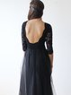 Black Open Back Elegant Tulle Lace Evening Dress