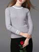 Knitted Long Sleeve Basic Stand Collar Sweater