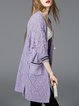 Knitted 3/4 Sleeve Casual Pierced Cardigan