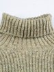 Knitted Turtleneck Plain Long Sleeve Sweater