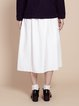 White Simple Plain Asymmetrical Midi Skirt
