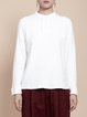 White Cotton Simple Long Sleeved Top