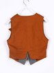Brown Color-block Casual Cotton Vest And Gilet