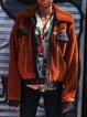 Camel Long Sleeve H-line Symmetric Shirt Collar Fur And Shearling Jacket