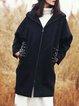 Black Long Sleeve Embroidered Hoodie Coat