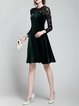 Elegant Long Sleeve Pierced A-line Velvet Party Dress