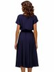 Dark Blue Pockets Solid Crew Neck A-line Midi Dress