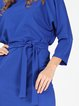 Royal Blue Simple Solid H-line Midi Dress with Belt