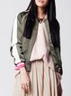 Green Color-block Casual Long Sleeve Bomber Jacket
