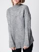 Wool Blend Solid Casual Ribbed Long Sleeve Sweater