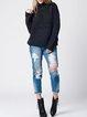 Deep Gray H-line Turtleneck Long Sleeve Blend Sweater