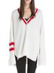 Plus Size Stripes Casual V Neck Sweater