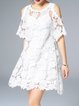 Cold Shoulder Floral Crocheted Lace Pierced A-line Mini Dress With Camis