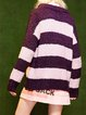 Stripes Color-block Crew Neck Casual Sweater