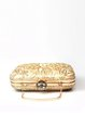 Apricot Embroidered Evening Clasp Lock Clutch