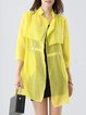 Yellow 3/4 Sleeve Buttoned Polyester Coat