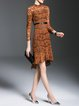 Brown Girly Guipure Lace Flounce Midi Dress With Belt