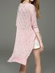 3/4 Sleeve Casual Solid Asymmetric Knitted Long Sleeved Top