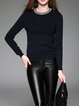 Casual Long Sleeve Crew Neck Beaded Sweater