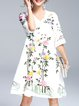 Surplice Neck Half Sleeve Floral-embroidered Silk-blend Holiday Dress