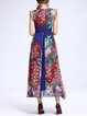 Multicolor Floral Lace Up Vintage Crew Neck Holiday Dress