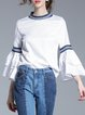 White Bell Sleeve Crew Neck Casual Printed Blouse