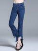 Blue Solid Cotton-blend Casual Denim Asymmetric Flared Jeans