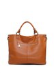 Large Solid Full-grain Cowhide Leather Simple Zipper Shoulder Bag