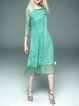 Silk Vintage 3/4 Sleeve Crew Neck A-line Holiday Dress