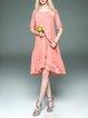 Silk Short Sleeve Vintage Jacquard Crew Neck Holiday Dress