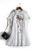 White Cotton-blend Short Sleeve Embroidered Ruffled Mini Dress