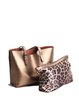 Simple Solid Cowhide Leather Zipper Medium Tote