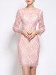 3/4 Sleeve Sheath Guipure Lace Geometric Midi Dress