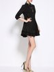 Solid 3/4 Sleeve Flounce Casual Mini Dress