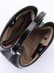 Solid Cowhide Leather Simple Snap Bucket Top Handle