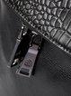 Black Embossed Full-grain Leather Zipper Casual Backpack