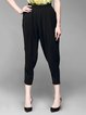Black Casual Solid Folds Polyester Track Pants