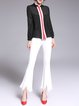 Solid Pockets Casual Asymmetrical Fringed Flared Pants