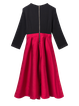 Color-block Bow Beaded Girly A-line Midi Dress