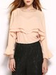 Apricot Ruffled H-line Crew Neck Frill Sleeve Blouse