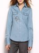 Blue Long Sleeve Embroidered Deinm H-line Blouse