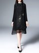 Black Silk Embroidered Floral Long Sleeve Midi Dress