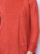 Red Casual Solid Asymmetrical Long Sleeve Knitted Sweater
