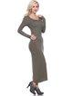 Olive Green Solid Sheath Long Sleeve Maxi Dress