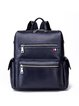 Solid Casual Full-grain Leather Zipper Backpack with Side Pockets