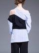 Black-blue Long Sleeve Asymmetrical Color-block Blouse