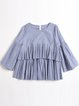 Blue Printed Crew Neck Stripes Ruffled Bell Sleeve Casual Blouse
