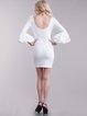 White Bateau/boat Neck Embossed Bodycon Elegant Midi Dress